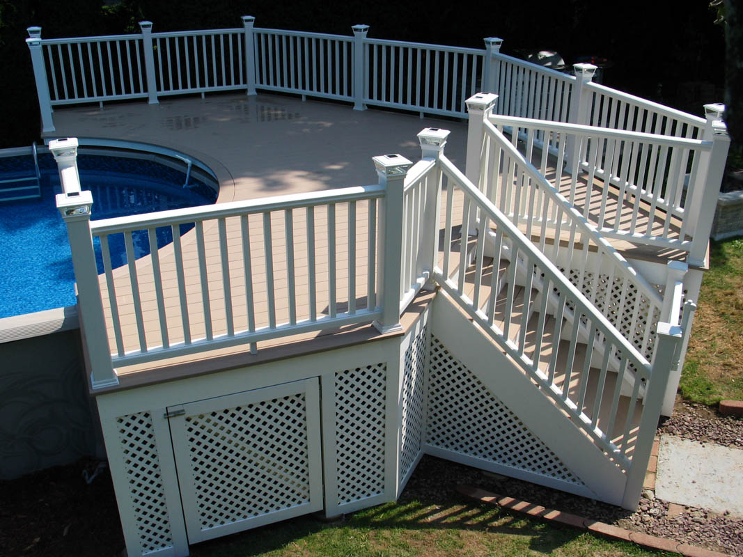 Azek decking, Trex Railing Pool deck